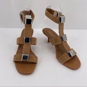Donald J Pliner Tan Gold Details Macai Sandals